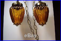 Vtg Set of 3 Double Swag Hanging Ceiling Lamp Amber Light Fixture Entry Porch