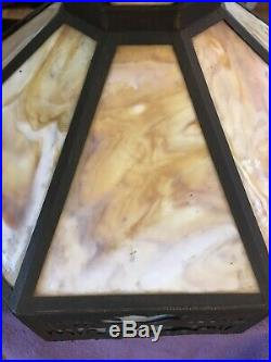 Vtg Slag Stained Glass Hanging Swag 8 Panel 21 Dia Lamp CAMEL PYRAMID EGYPT