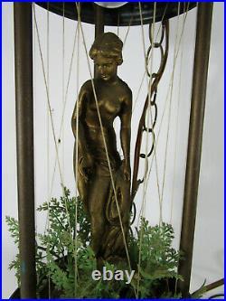Vtg Small Rain Drip Mineral Oil Hanging Swag Lamp Light Nude Goddess Woman