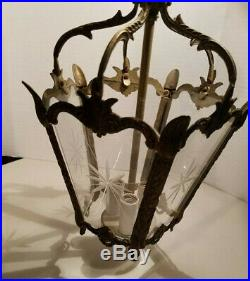 Vtg Spanish Bronze & Etched Glass Petite Lantern Chandelier Hanging Lamp