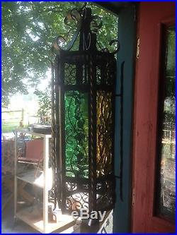 Vtg Spanish Gothic Metal Hanging Foyer Light Swag Lamp Garden Art Chandelier