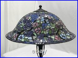 Vtg Stained Slag Glass Lamp Shade Arts & Crafts Deco Victorian, Floor or Hanging