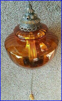 Vtg Swag Hanging Lamp 60s 70s Amber Stained Glass Wood Bronze Large Light (b34)