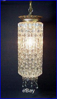 Vtg Swag Lamp Bubble Glass Prism Ceiling Light Hanging Chain Hollywood Regency