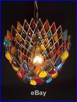Vtg Swag Lamp Light Chandelier Lucite Mid Century Modern hanging prism RETRO