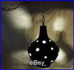 Vtg Swag Lamp Mid Century Atomic Hanging Light Black Space Age Ceramic Globe