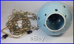 Vtg Swag Lamp Mid Century Atomic Hanging Light Pierced Ceramic Pottery Globe
