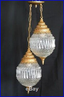 Vtg Swag Light Fixture Hanging Double Pendant Lamp Clear Glass Hollywood MCM