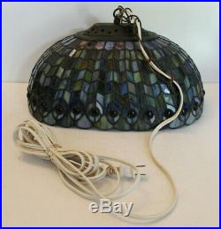 Vtg Tiffany Style Hanging Light Lamp Shade Stained Glass Swag Fixture Oval 16