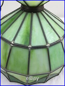 Vtg Tiffany Style Hanging Swag Lamp Ceiling Chandelier Retro Green Stained Glass