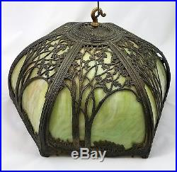 Vtg Tiffany Style Stained Glass Green with Metal Tree Overlay Hanging Lamp Light