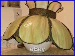 Vtg Tiffany Style Stained Slag Glass Hanging Ceiling Light Fixture Swag Lamp Ant