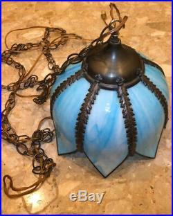 Vtg Tulip Blue Slag Stained Glass Ceiling Hanging Swag Lamp Light 8 panel 10x12