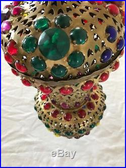Vtg Turkish Moroccan Middle Eastern Jeweled Brass Hanging Lamp Swag Light Pierce
