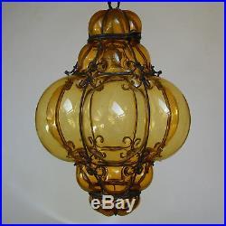 Vtg Venetian Murano Hand Blown Caged Glass Hanging Ceiling Light Lantern Lamp