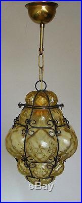 Vtg Venetian Murano Hand Blown Caged Glass Lantern Hanging Ceiling Light Lamp