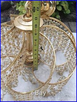 Vtg hanging light Sputnik Ceiling Chandelier Art Deco Crystal Lamp Set Modern