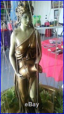 Vtg large Mid Century Oil Rain Hanging Table Lamp Light Nude Lady Goddess Pillar