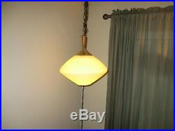 Vtg white glass saucer hanging swag lamp