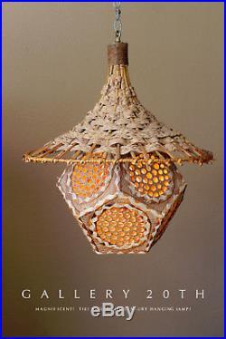 WOW! HUGE MID CENTURY MODERN TIKI ATOMIC HANGING SWAG LAMP! EPIC DESIGN! 50s VTG