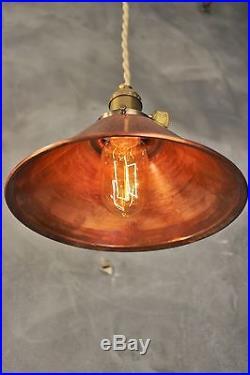 Weathered Copper Pendant Lamp Vintage Industrial Hanging Light