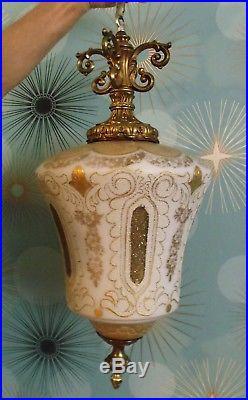West Berlin Vintage Hanging Swag Lamp White Hollywood Regency Gold Gild Light