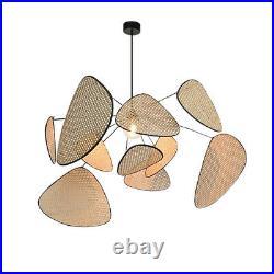 Wicker Rattan Branch Chandelier Light Fixtures Vintage Hanging Lamp Lustre Room