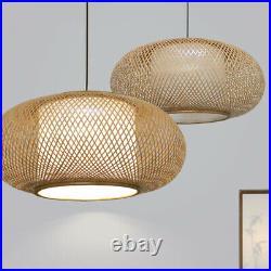 Wicker Rattan Shade Pendant Light Fixture Rustic Vintage Hanging Ceiling Lamp