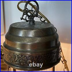 Wow! Vintage Oil Rain Hanging Lamp. Nude Greek Goddess. 21