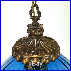 XXL Vintage Mid-Century Blue Italian Glass Hanging Swag Lamp Pendant Light Retro